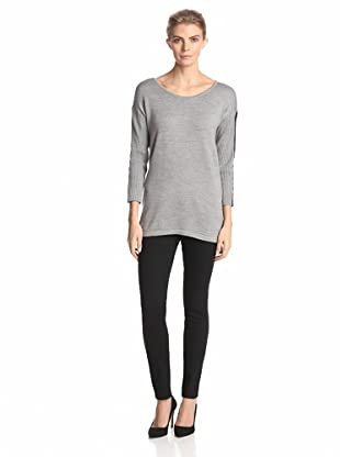 Calvin Klein Women's Pullover with Faux Leather Trim (Heather Granite)