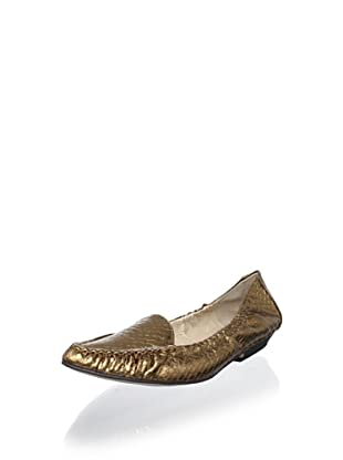 ALL BLACK Women's Snake Drive Moccasin Flat (Gold)