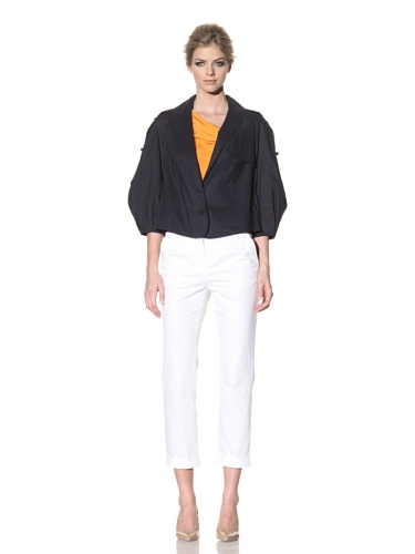 Rachel Roy Women's Stretch Linen Trench Jacket (Midnight)