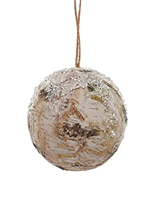 Winward Paper Birch Ball Ornament, Brown White