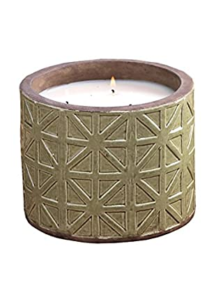 Zodax Treillage Earthenware Scented Candle Pot, Green