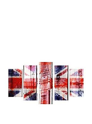 LO+DEMODA Leinwandbild 5 tlg. Set Uk Flag Mix