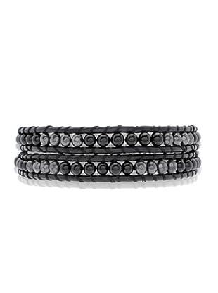 Lucie & Jade Echtleder-Armband Achat, Metallbeads schwarz/silber