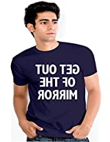 Enquotism Navy Blue Combed Fabric Round Neck Men T-Shirt-XXL Get out of the Mirror Navy Blue -XXL