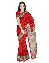 Rani Saahiba Art Silk Bhagalpuri Madhubani Printed Red Saree