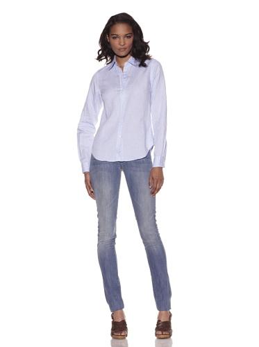 Earnest Sewn Women's Jacquard Button-Up Shirt (Sky Blue)