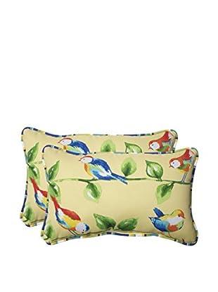 Pillow Perfect Set of 2 Indoor/Outdoor Curious Bird Soleil Lumbar Pillows, Yellow