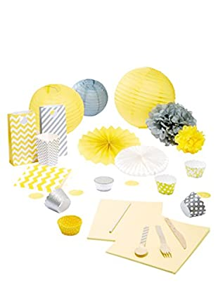 Dress My Cupcake Baby Shower Party Box, Yellow/Grey