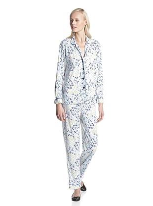 BH PJ's by BedHead Pajamas Women's Classic Notch Collar Pajama Set (Ditsy Navy)