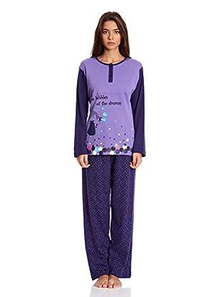 Muslher Pijama Señora Bordado Perro Pant C (Lila)