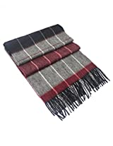 Dahlia Men's 100% Luxurious Wool Scarf - Box Awning Stripes - Red