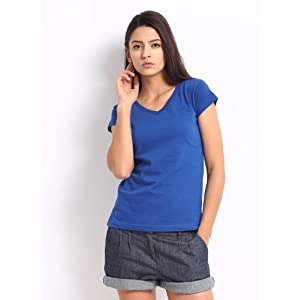 Roadster Women's Cotton T-shirt-Blue