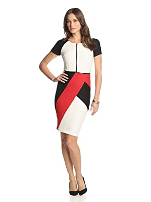 Nue by Shani Women's Ottoman Colorblock Dress (Black/Ivory/Red)
