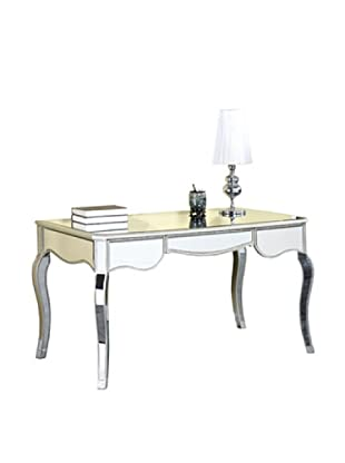 Camille 3-Drawer Mirrored Desk, Silver Leaf