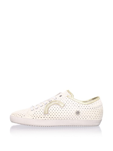 Alessandro Dell'Acqua Men's Berger Perforated Sneaker (White/Gold)
