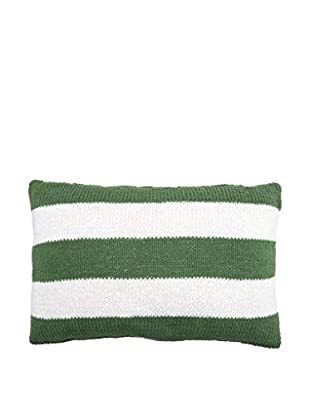 Lene Bjerre Afia White & Green Striped Lumbar Pillow