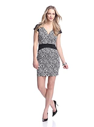 Marc New York Women's Zip Front Cap Sleeve Dress (Black/White)