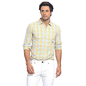 BASICS Checked Slim Fit Shirt - Yellow