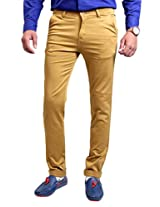 Routeen Men's Cotton Chino Trousers (Trkek9Ctrslbrown9015-36 _Brown _36)