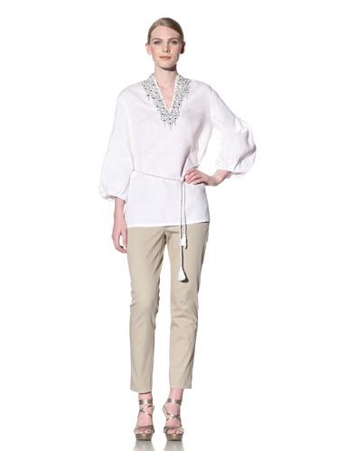 Lafayette 148 New York Women's 3/4 Sleeve Embellished Kelsey Tunic (White)