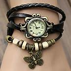 Grabito Black Women Genuine Leather Vintage Bracelet Watch