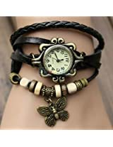 Grabito Black Women Genuine Leather Vintage Bracelet Watch