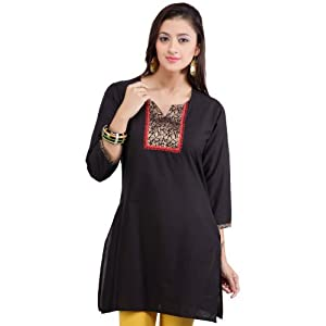 Noor Black Cotton Women - Kurti