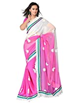 Sehgall Saree Indian Ethnic Professional Shaded chiffon with Fancy Lace Border and Embroidery