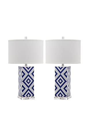 Safavieh Set of 2 Diamonds Table Lamps, Navy