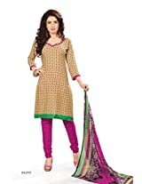 BanoRani Womens Beige & Dark Pink Color PolyCotton Unstitched Dress Material
