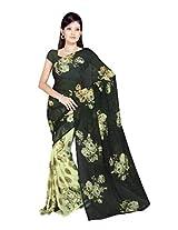 Sonal Trendz Mehendi Green Color Printed Georgette Saree