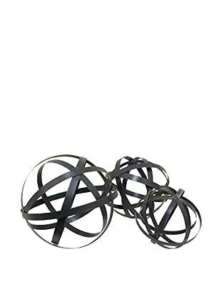 Three Hands Set of 3 Metal Orbs