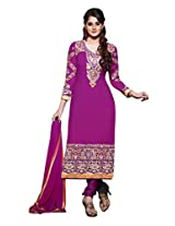 Simplistic purple georgette salwar suit with embroidery work