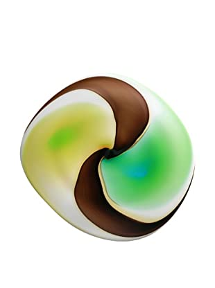 La Meridian Hand-Blown Glass Wall Plate (Green/Chocolate/Amber)