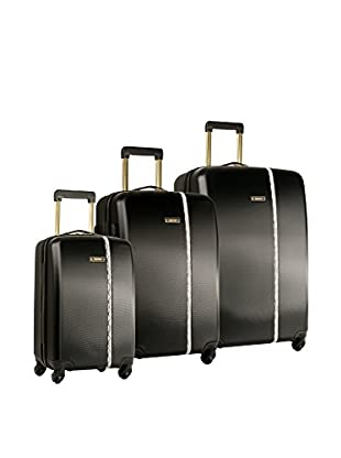 Nine West Noelle 3-Piece Hardside Luggage Set, Black