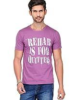 Printed Purple Round Neck T-shirt