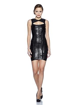 Corizzi & Absolu Vestido Abertura Escote Cóctel (Negro)