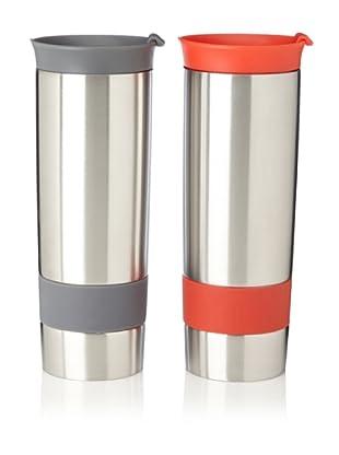 AdNArt Set of 2 The Hot Press Mugs (Grey/Red)