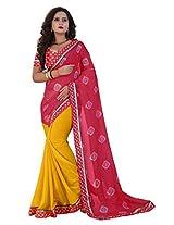 Shree laxmi creations women,s rama colour chiffon saree