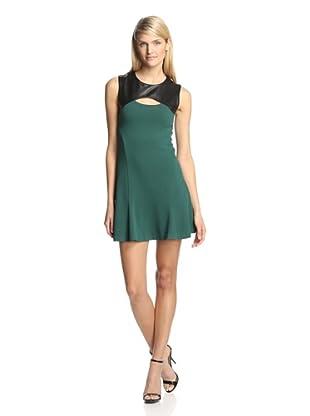 Twenty Tees Women's Knit Dress with Leather Yoke (Emerald/Black)