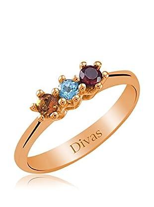Divas Diamond Anillo Piedras Preciosas Coloridas Tria (Oro)