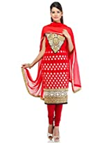 Red Art Georgette Embroidery Suit Dupatta Unstitched