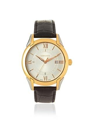 Versace Men's VFI020013 Apollo Gold-Tone Black Leather Watch