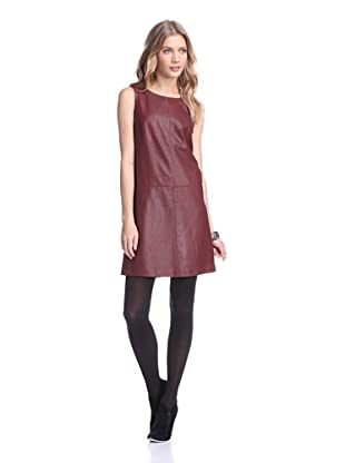 Bagatelle City Women's Perforated Leather Dress (Wine)