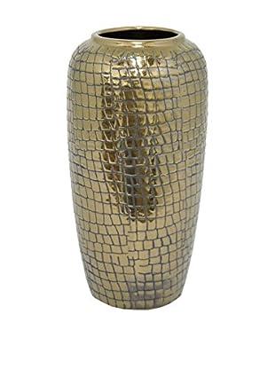 Three Hands Textured Ceramic Vase, Bronze