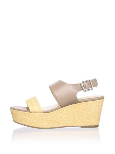 Calvin Klein Women's Lorianne Platform Sandal (Light Natural/Light Taupe)