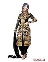 Clickedia Beautiful Black Jacket Style Heavy Embroidered Salwaar Suit