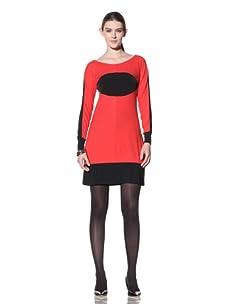 Stephen Burrows Women's Matte Jersey Colorblock Long Sleeve Dress (Red/black)