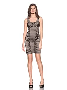 Marc New York Women's Ruched & Pleated Scoop Neck Dress (Deer)