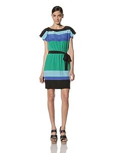 Donna Morgan Women's Color Block Dress (Black/Aqua/Blue/Lime)